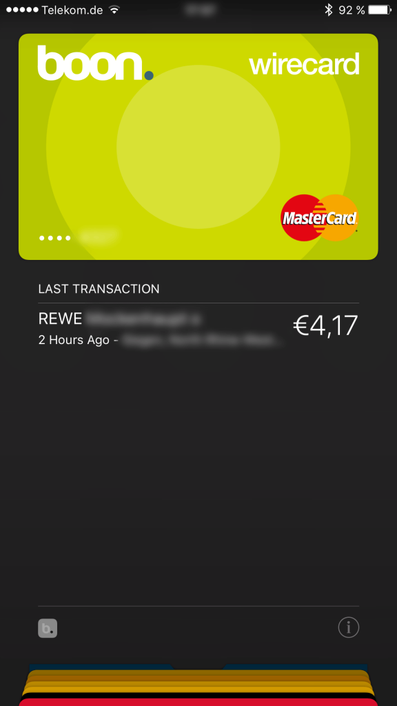 Apple Wallet - Screenshot nach der Zahlung