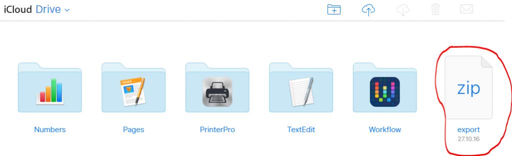 Export-zip im iCloud-Drive